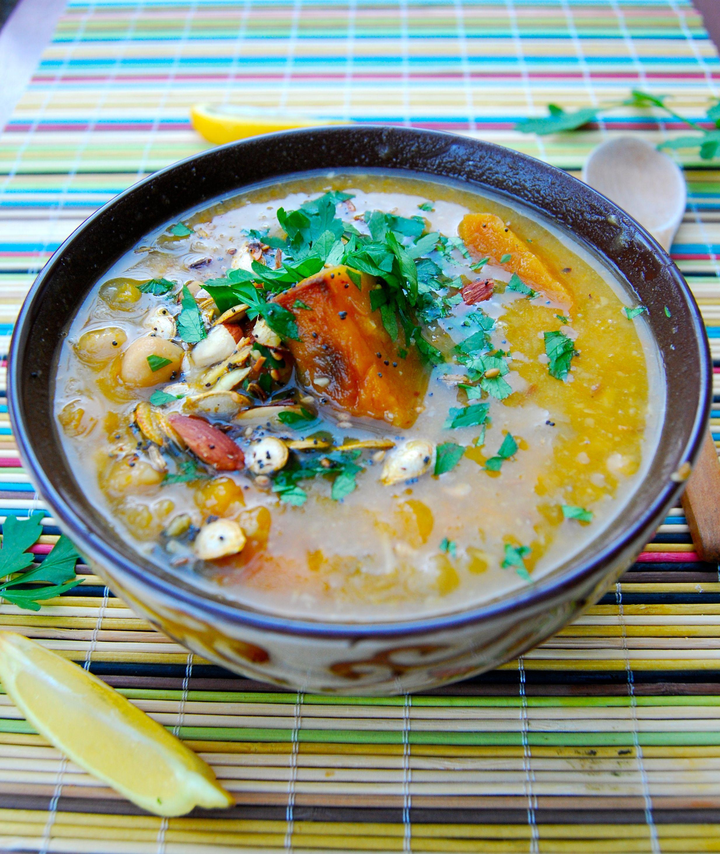 sopa africana de calabaza y garbanzos