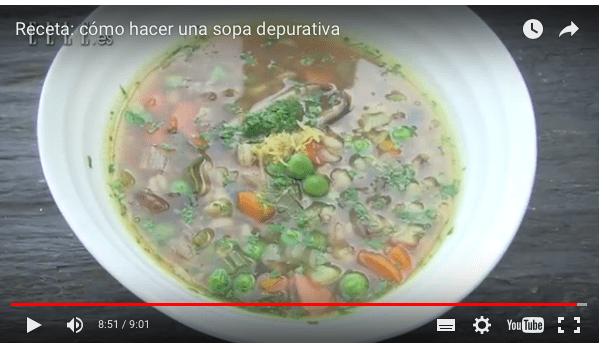 Sopa vegana depurativa